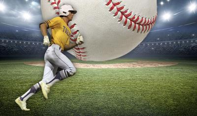 2021 All Area Baseball Team art with player running