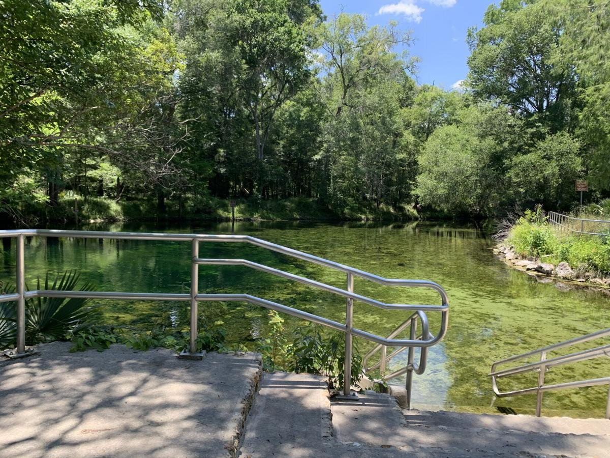 Poe Springs Park swimming area with rail