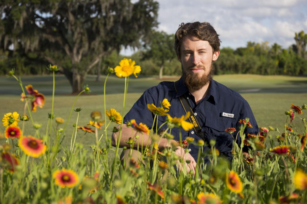 Adam Dale with wildflowers