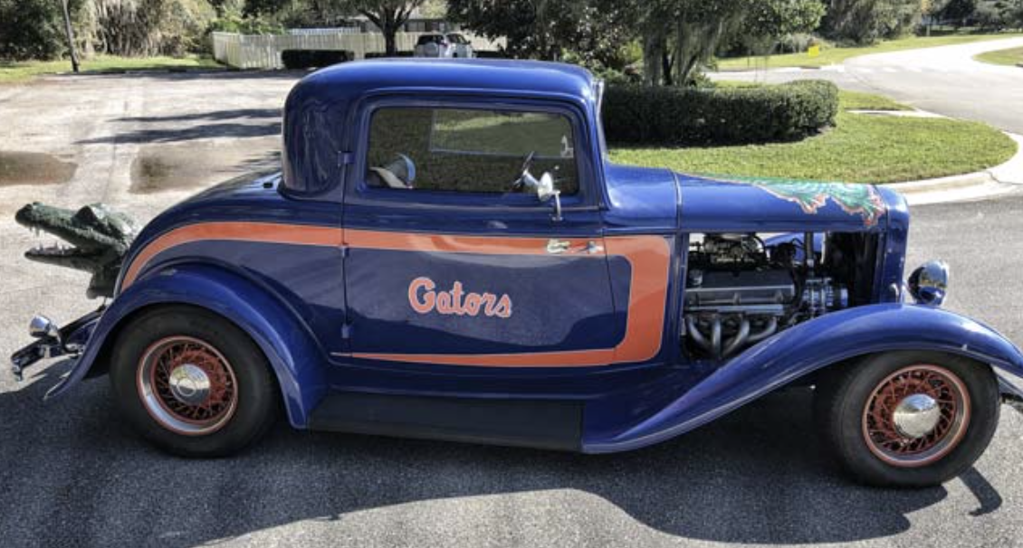 Orange and blue 1932 Ford with gator head