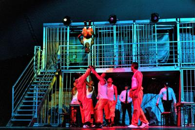 Los Cobos acrobatic artists perform on stage