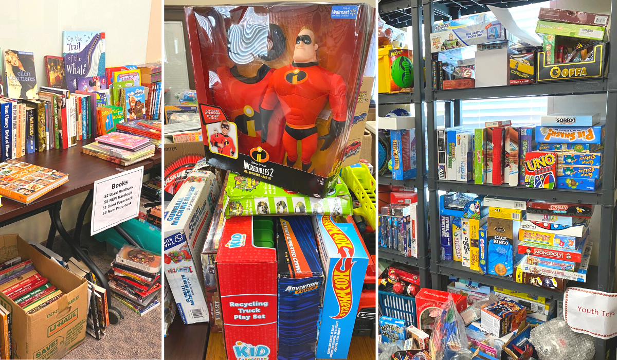 Toys at the pop-up thrift store