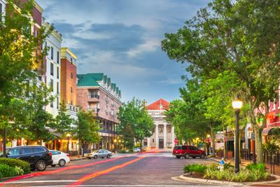 Downtown Gainesville, Florida, at twilight