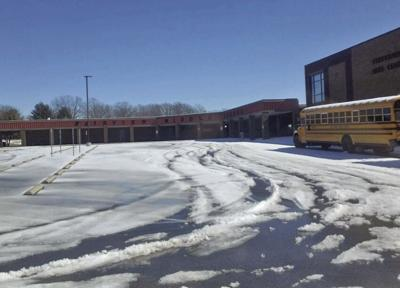 Fairview Middle School parking lot snow and ice
