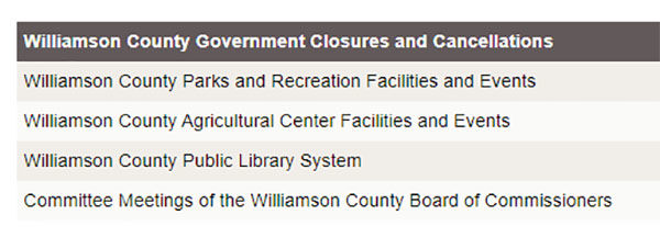 Williamson County Public Library Closes All Branches, Facilities and Cancels Activities