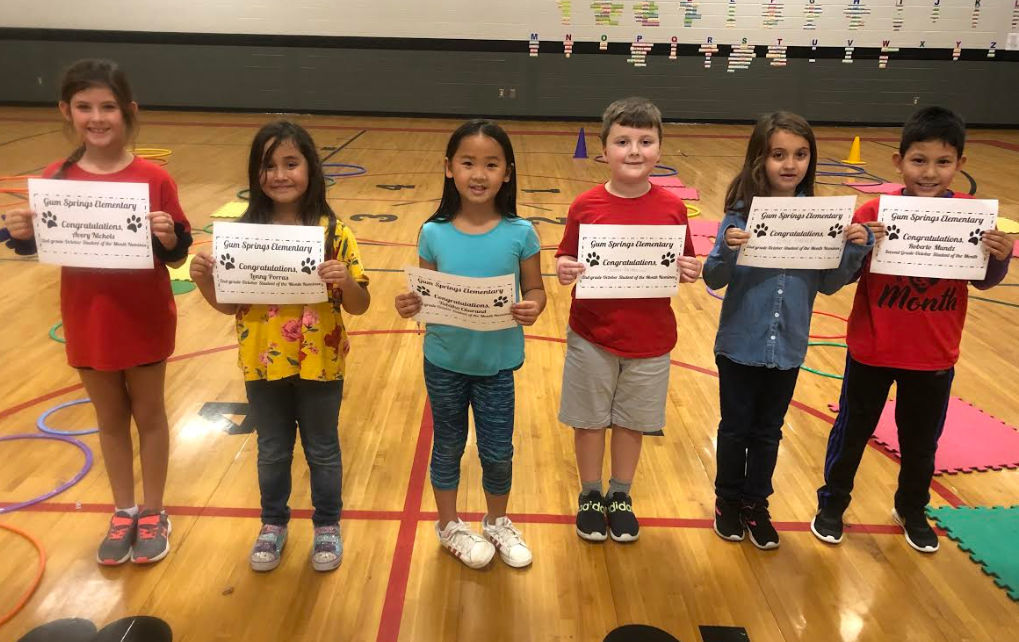 Second grade students of the month