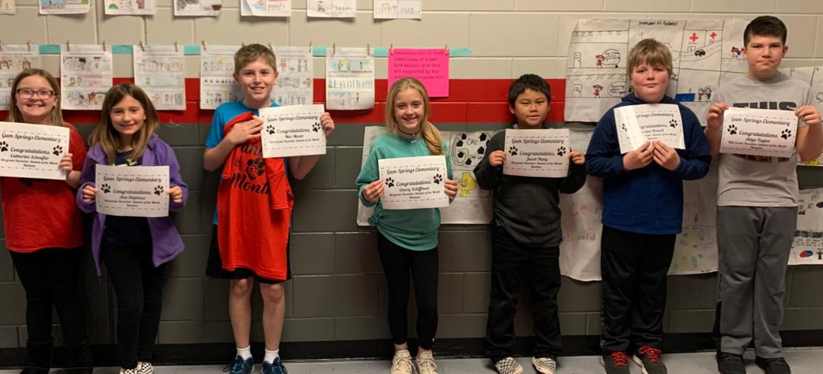 Fifth grade students of the month
