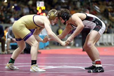 Cameron Henderson from Smyrna takes on Dillion Pendley at the TSSAA State Wrestling Championship