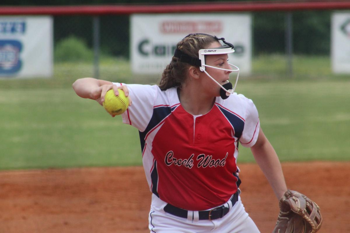 Creek Wood's Maddy Pullum throws the ball to first base against Waverly. CASEY PATRICK