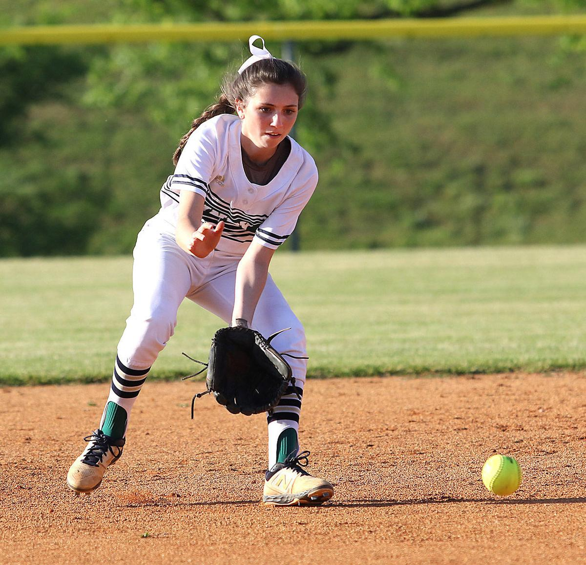 Independence second baseman Josie Bond scoops up a grounder against Dickson County.jpg
