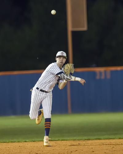 Dickson County's Colton Thompson makes a throw to first base against Franklin. Howard Abell / Mid Tenn Sports