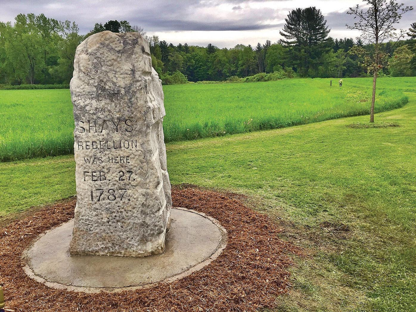 Preservationist touches up Shays' Rebellion monument