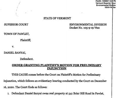 Pawlet Temp Injunction against Slate Ridge and Daniel Banyai