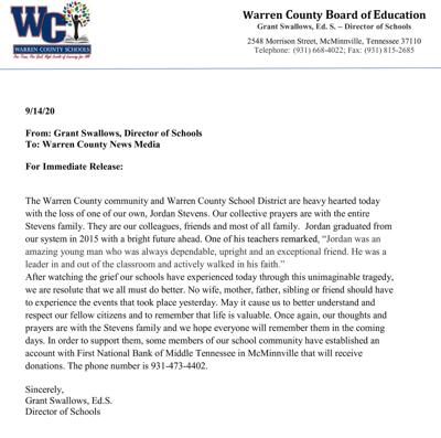 Warren County Director of Schools Grant Swallows issues statement about the death of Jordan Stevens