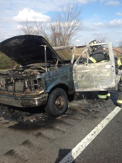 Crews respond to vehicle fire on Hwy 55; The truck is a total loss