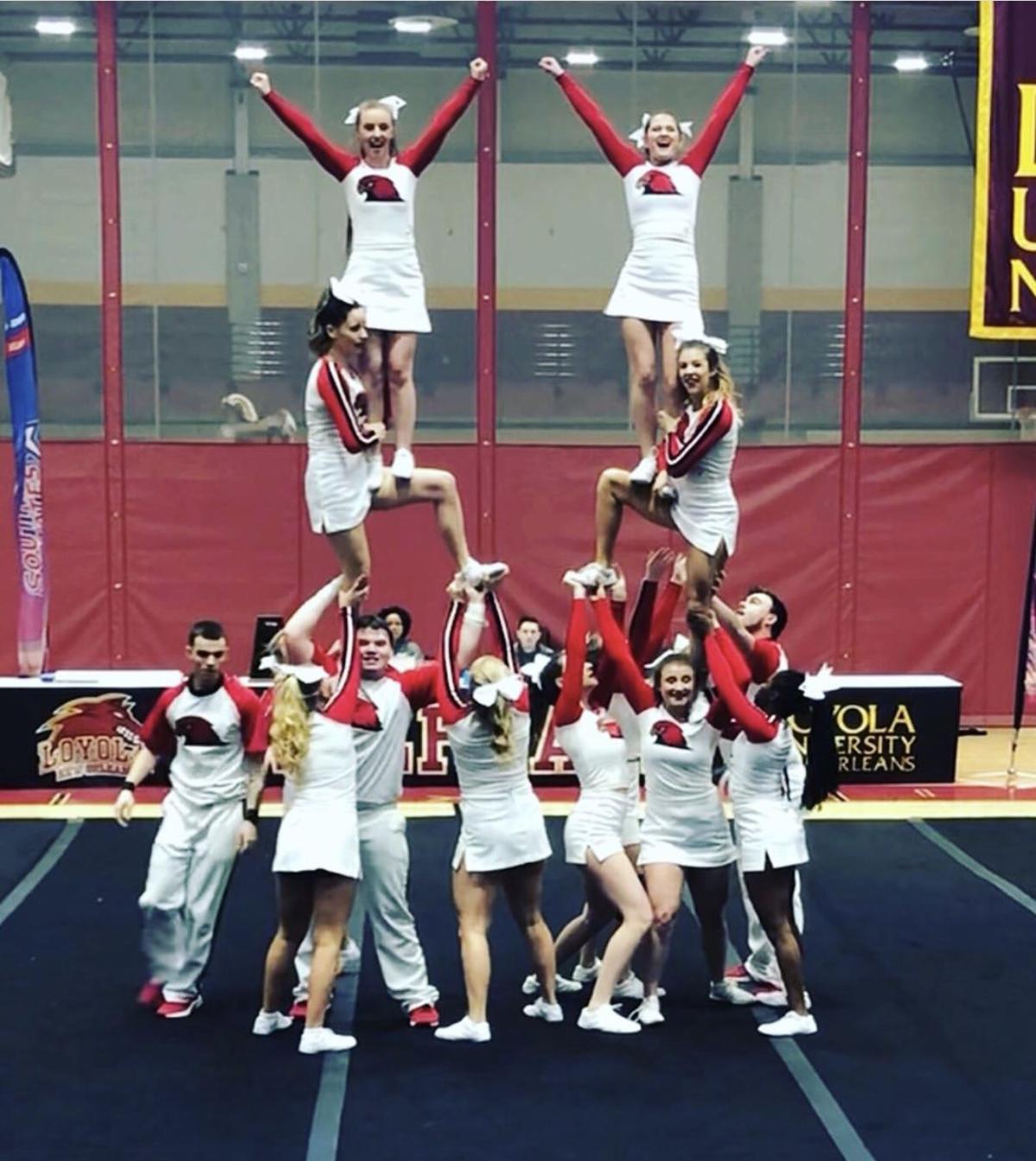 Redhawk cheerleaders in action