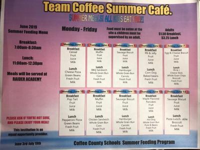 Summer Feeding program menu through June 14