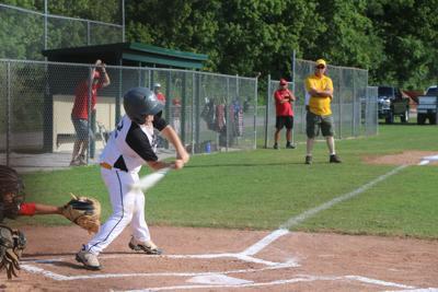 Chico's batter Hunter Stoner swings for the fences against State Farm.