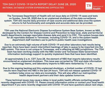 Department of health issues statement about unplanned system shutdown