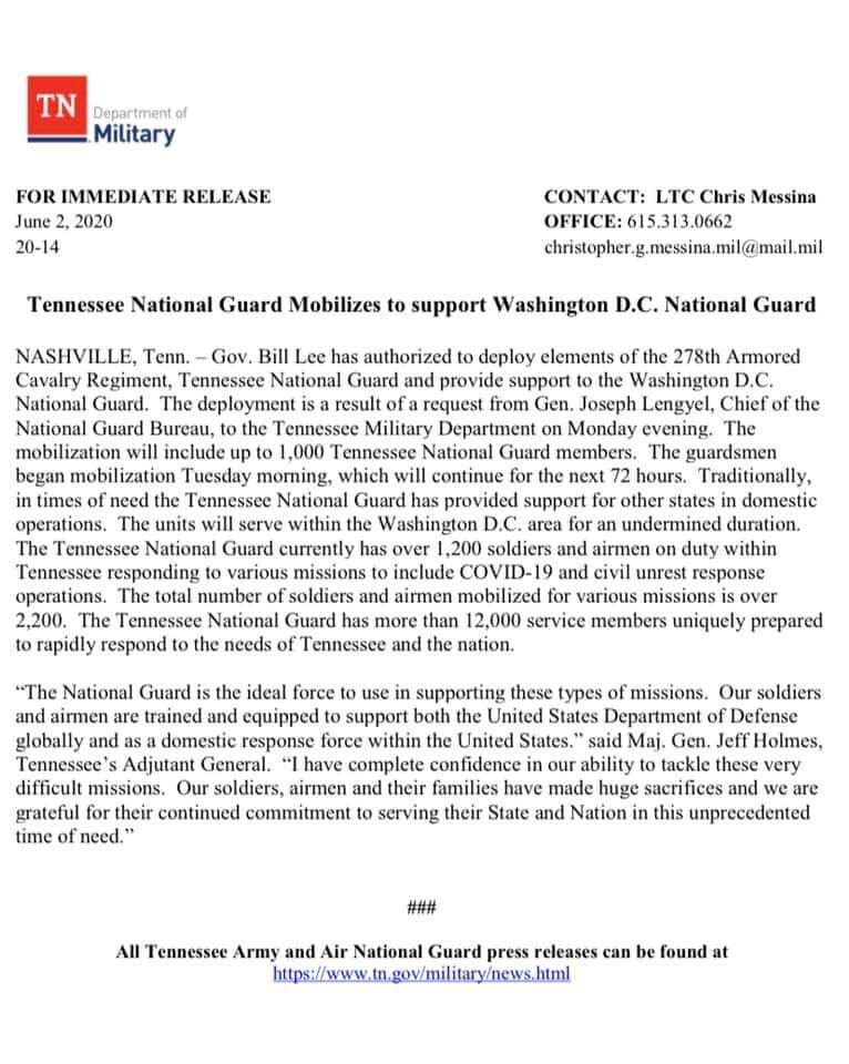 Gov. Lee authorizes National Guard to provide support to the Washington D.C