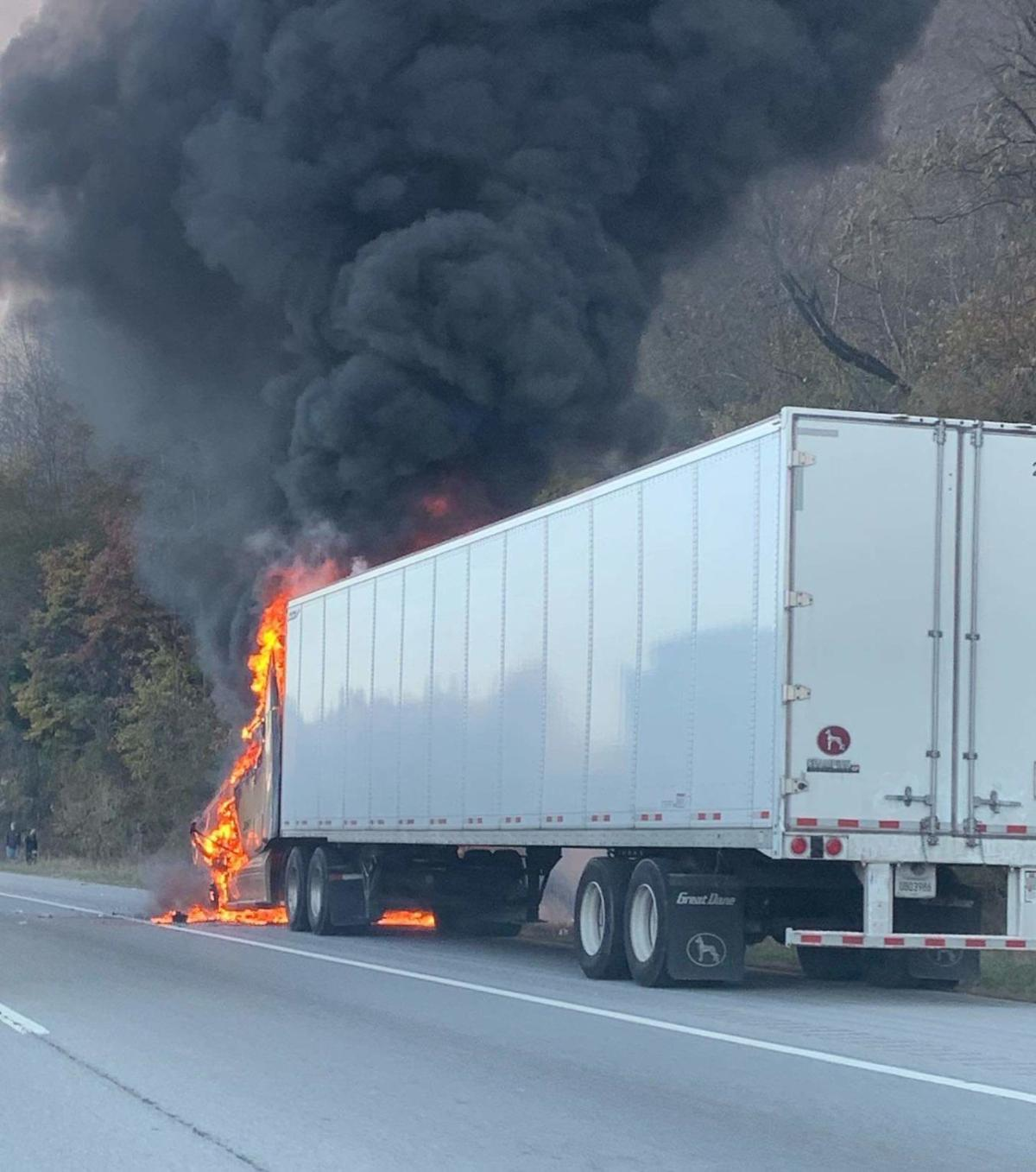 Tractor trailer on fire