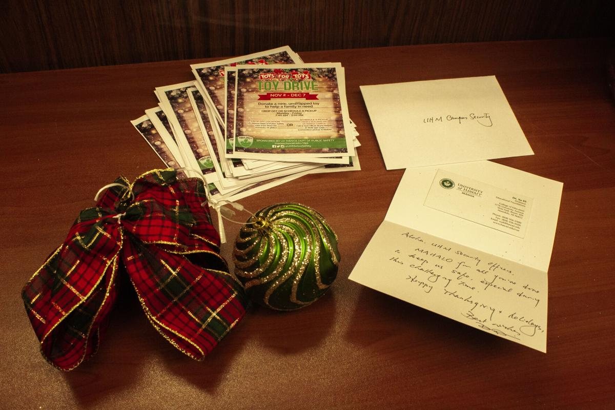 Hand-written holiday note given to the Department of Public Safety