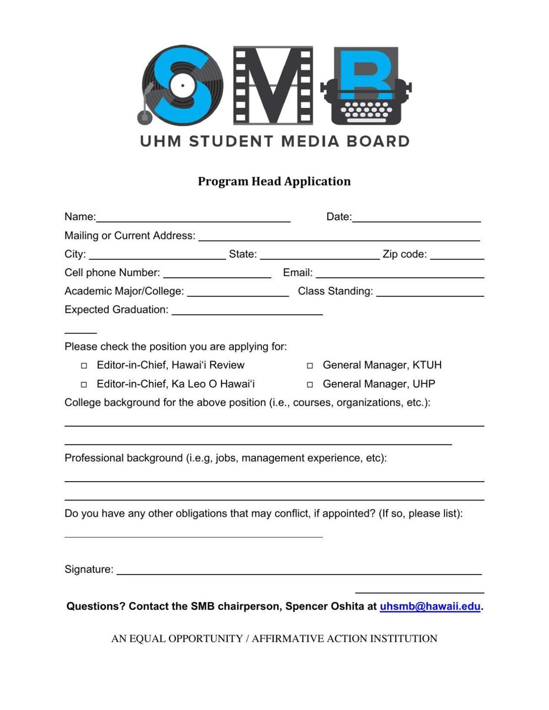 SMB Program Head Applications 2020