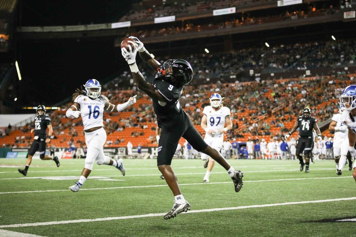 Jojo Ward touchdown catch from Chevan Cordeiro (UH vs. SJSU Nov. 9, 2019)