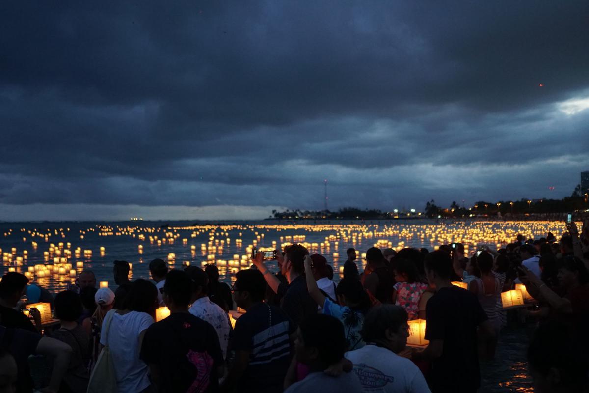 Lantern floating ceremony crowd