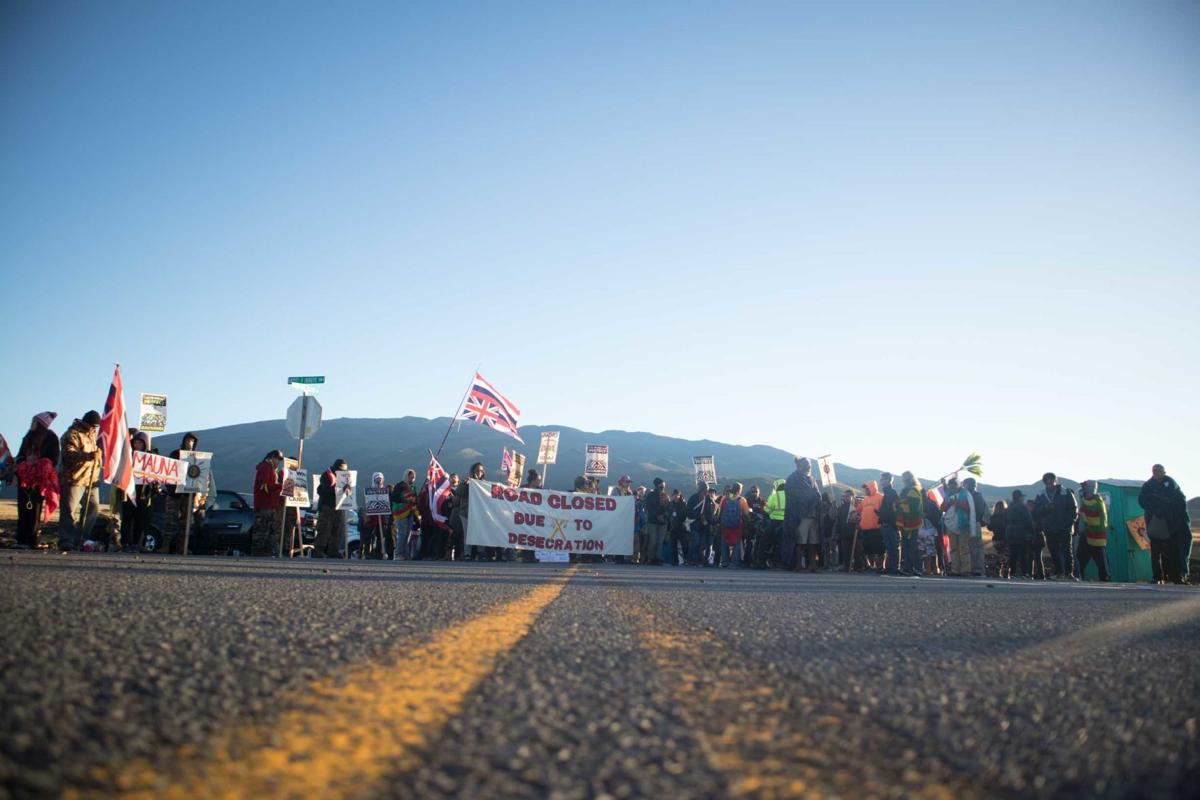 Protesting against the Thirty Meter Telescope near Maunakea