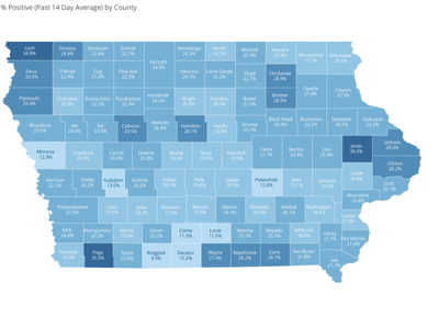 Rolling 14-day average percentage of positive COVID-19 cases by county. 11-19