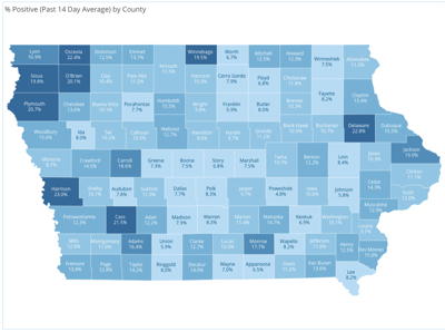 Rolling 14-day average percentage of positive COVID-19 cases by county. 10-26