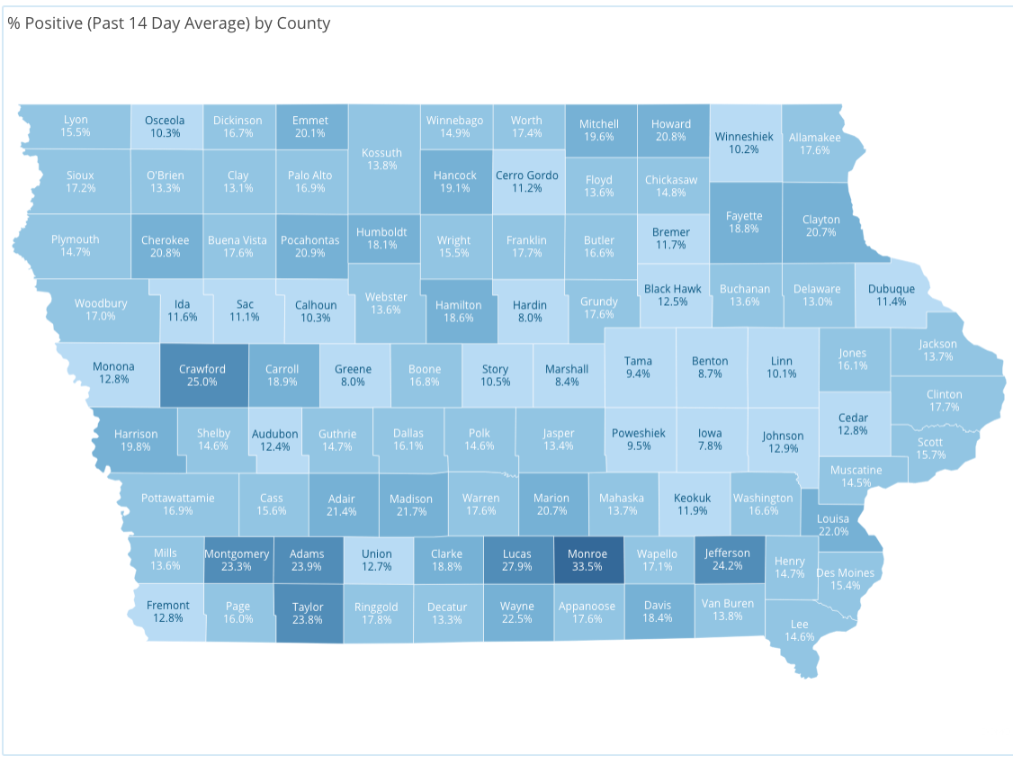 14-day average of positive cases by county in Iowa reported Thursday, Jan. 7, as of 10 a.m. by the Iowa Department of Public Health.