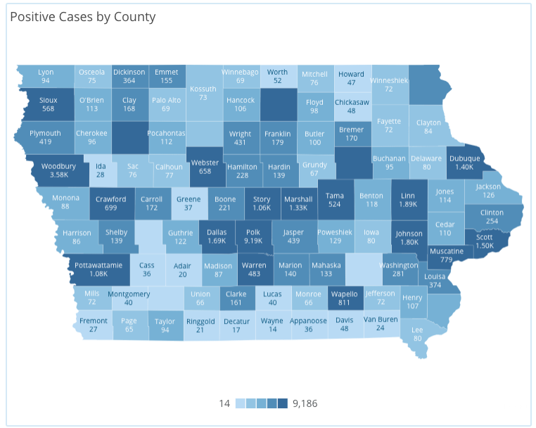 Iowa COVID-19 case information by county in Iowa reported Wednesday, July 29, as of 10 a.m. by the Iowa Department of Public Health.
