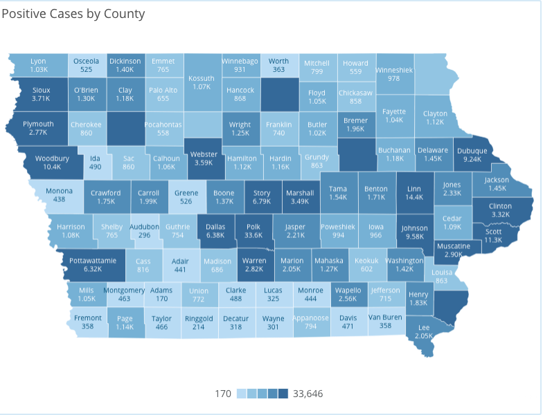 Iowa COVID-19 case information by county in Iowa reported Monday, Nov. 30, as of 10 a.m. by the Iowa Department of Public Health.