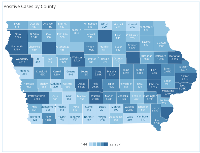 Iowa COVID-19 case information by county in Iowa reported Thursday, Nov. 19, as of 10 a.m. by the Iowa Department of Public Health.