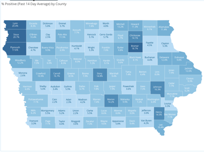 Rolling 14-day average percentage of positive COVID-19 cases by county. 9-11