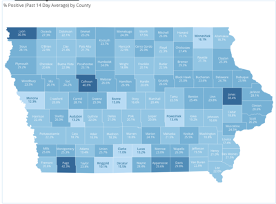 Rolling 14-day average percentage of positive COVID-19 cases by county. 11.18