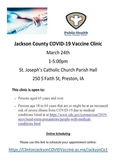 March 24 vaccination clinic