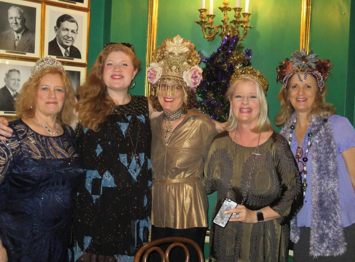 Crowns, wigs and Terpsichorean revelers merge at luncheon