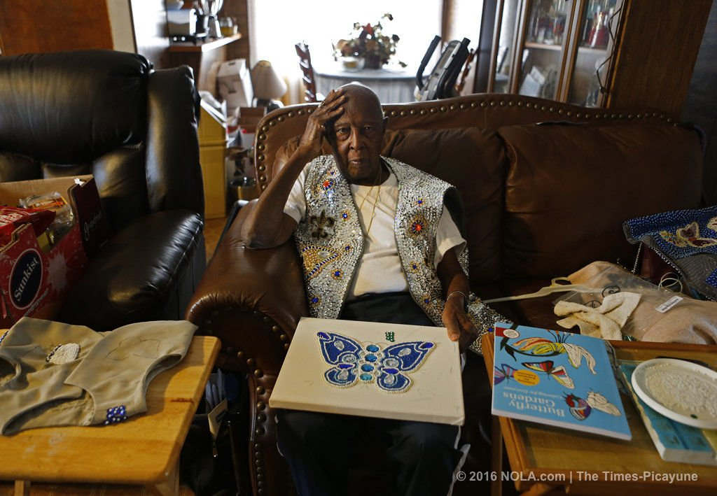 Mardi Gras Indian Ike Edward, who started sewing 80 years ago, has died