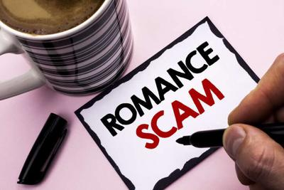 Handwriting text writing Romance Scam. Concept meaning Dating Cheat Love Embarrassed Fraud Cyber Couple Affair written by Man on Sticky Note paper holding Marker plain background Coffee Cup