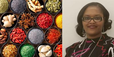 Colourful background from various herbs and spices for cooking in bowls
