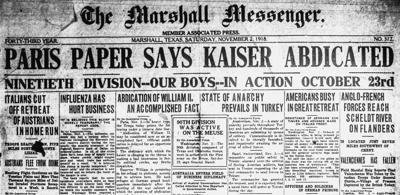 mnm front page nov 2nd 1918 influenza has hurt business.jpg