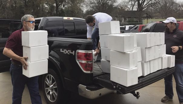 Hams delivered to Marshall Harrison County first responders - Tim Huff