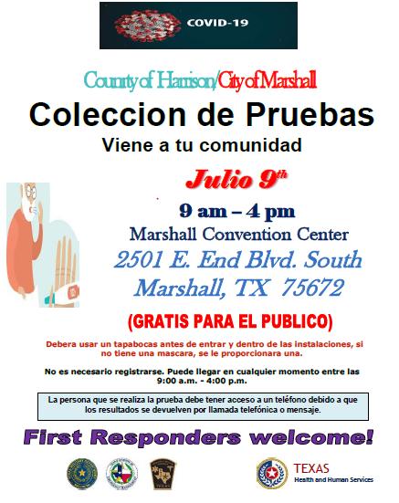 corona testing flyer Spanish
