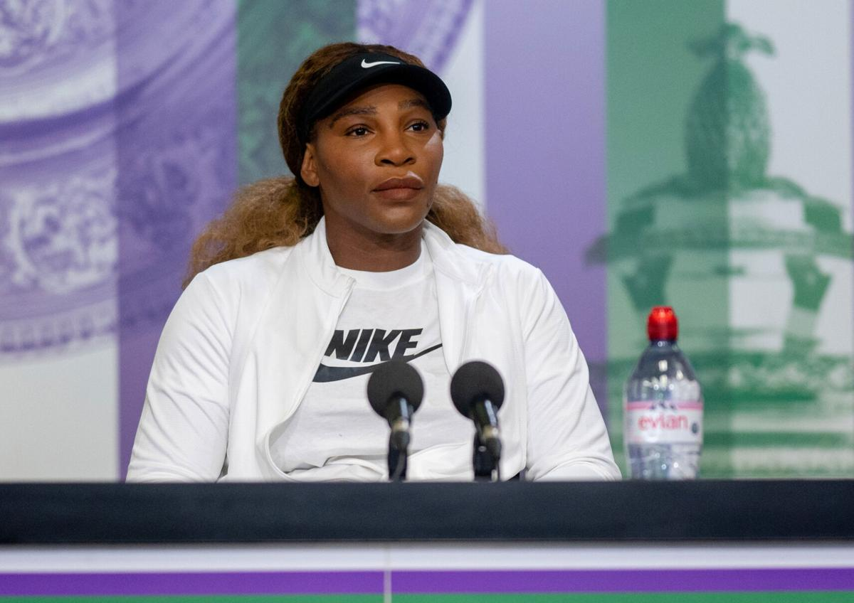 Serena Williams of the United States attends a press conference ahead of The Championships- Wimbledon 2021 at All England Lawn Tennis and Croquet Club on June 27, 2021 in London, England.