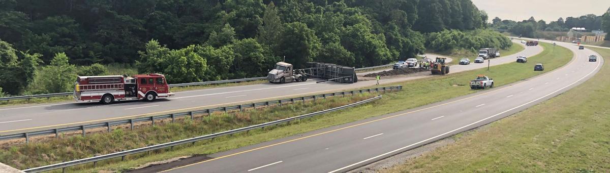 Truck blocks roadway