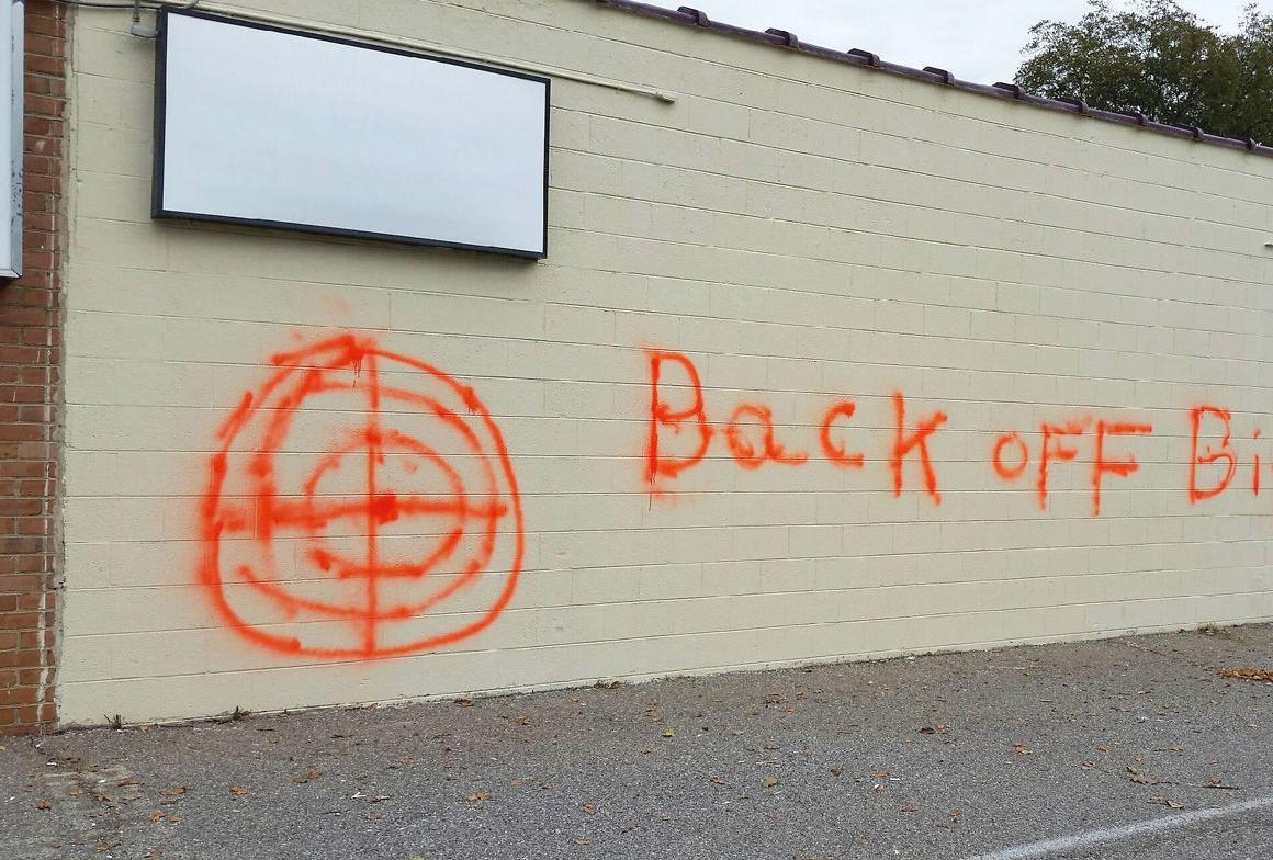 Building defaced