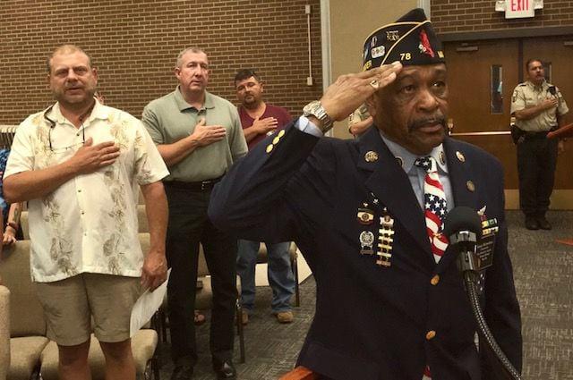 "Warren ""Sonny"" Richardson leads pledge of allegiance for Henry County School Board"